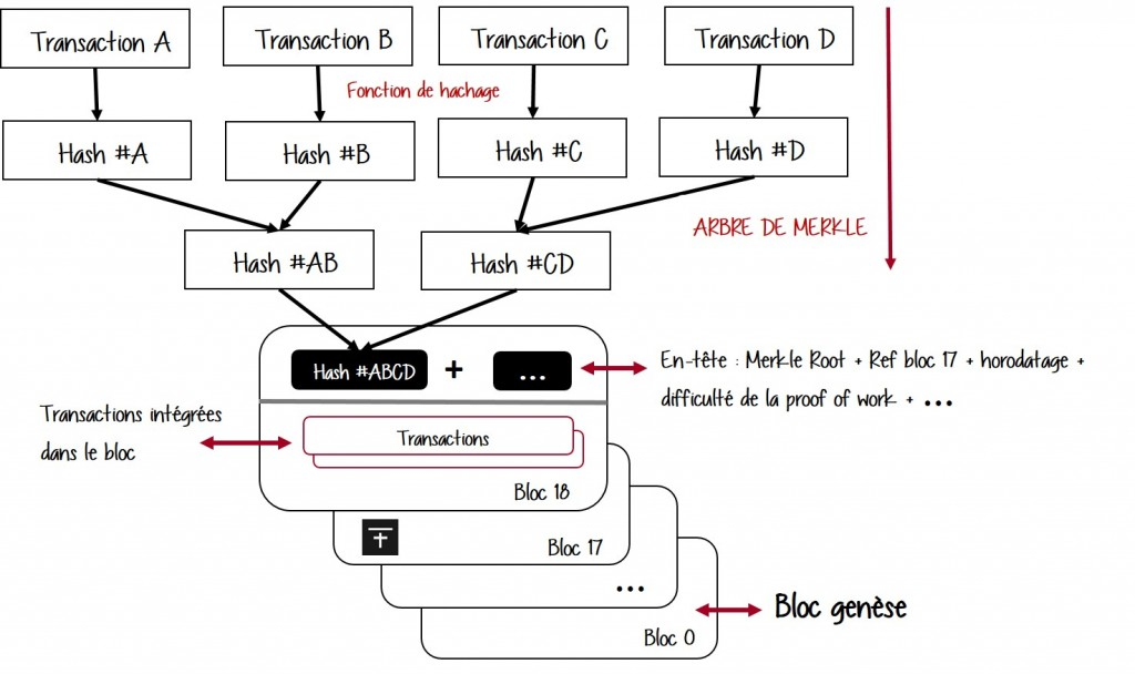 Contenus des blocs de la blockchain